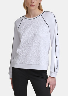 Karl Lagerfeld Scuba Crewneck Sweater with Lace Body