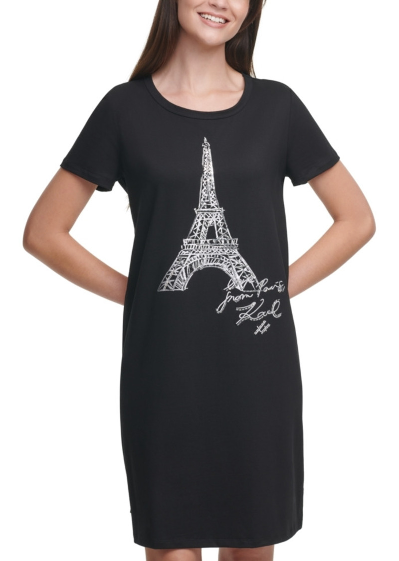 Karl Lagerfeld Sequin Eiffel Tower T-Shirt Dress