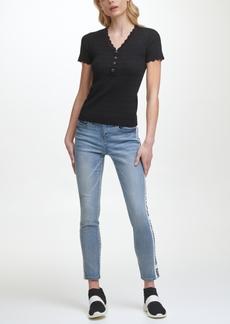 Karl Lagerfeld Short Sleeve Scalloped Trim Sweater