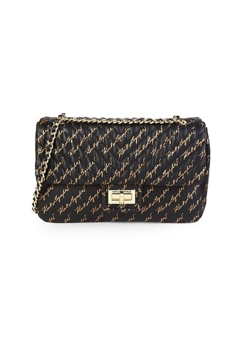 Karl Lagerfeld Large Agyness Logo Leather Shoulder Bag