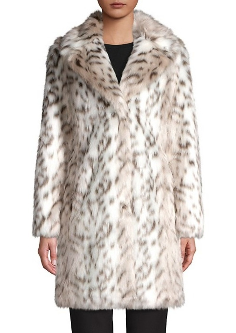 Karl Lagerfeld Leopard Printed Faux-Fur Coat