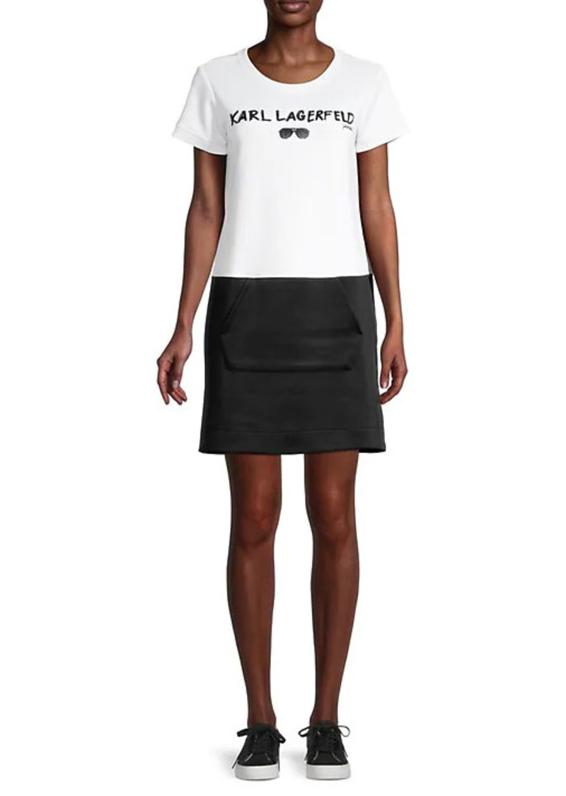 Karl Lagerfeld Logo Bi-Colored T-Shirt Dress