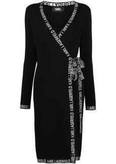 Karl Lagerfeld logo-embroidered wrap dress