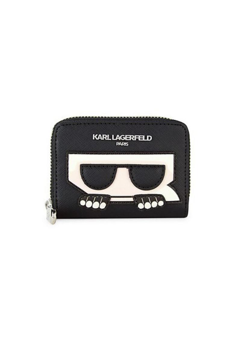 Karl Lagerfeld Logo Faux Leather Card Wallet