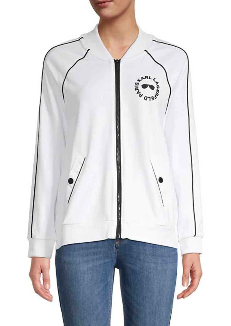 Karl Lagerfeld Logo Raglan-Sleeve Track Jacket