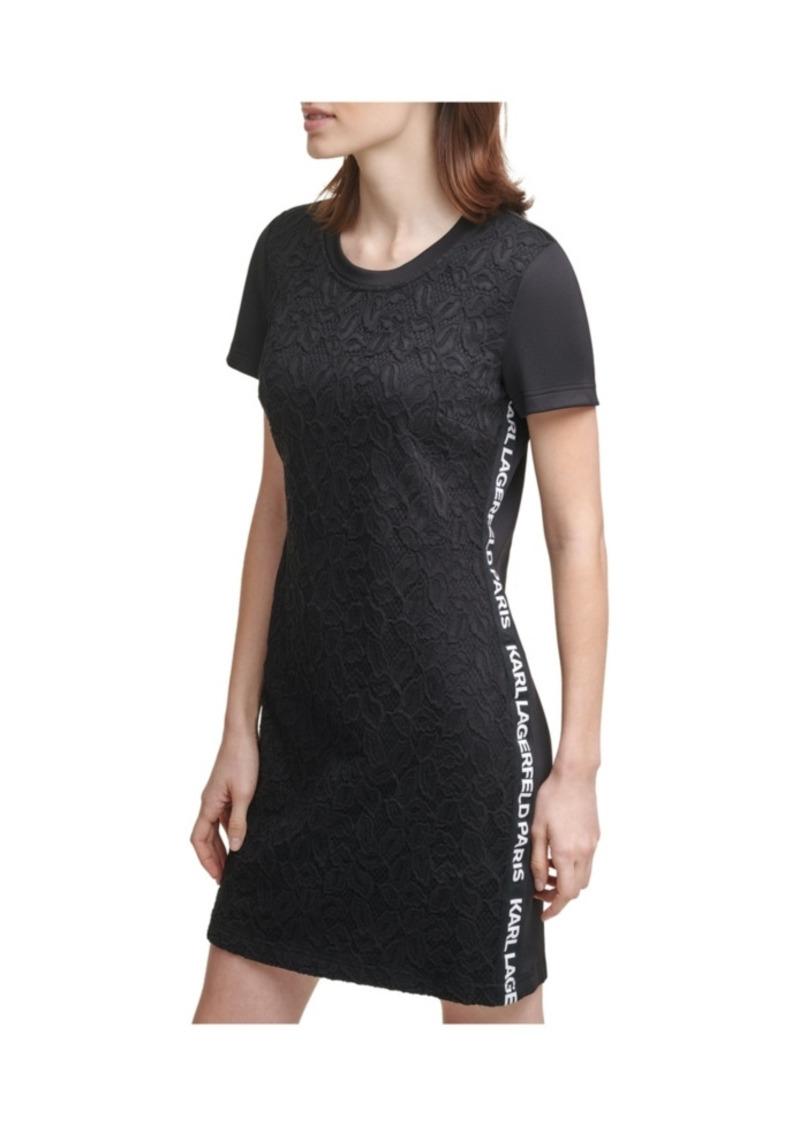 Karl Lagerfeld Paris Logo Taping Lace Dress