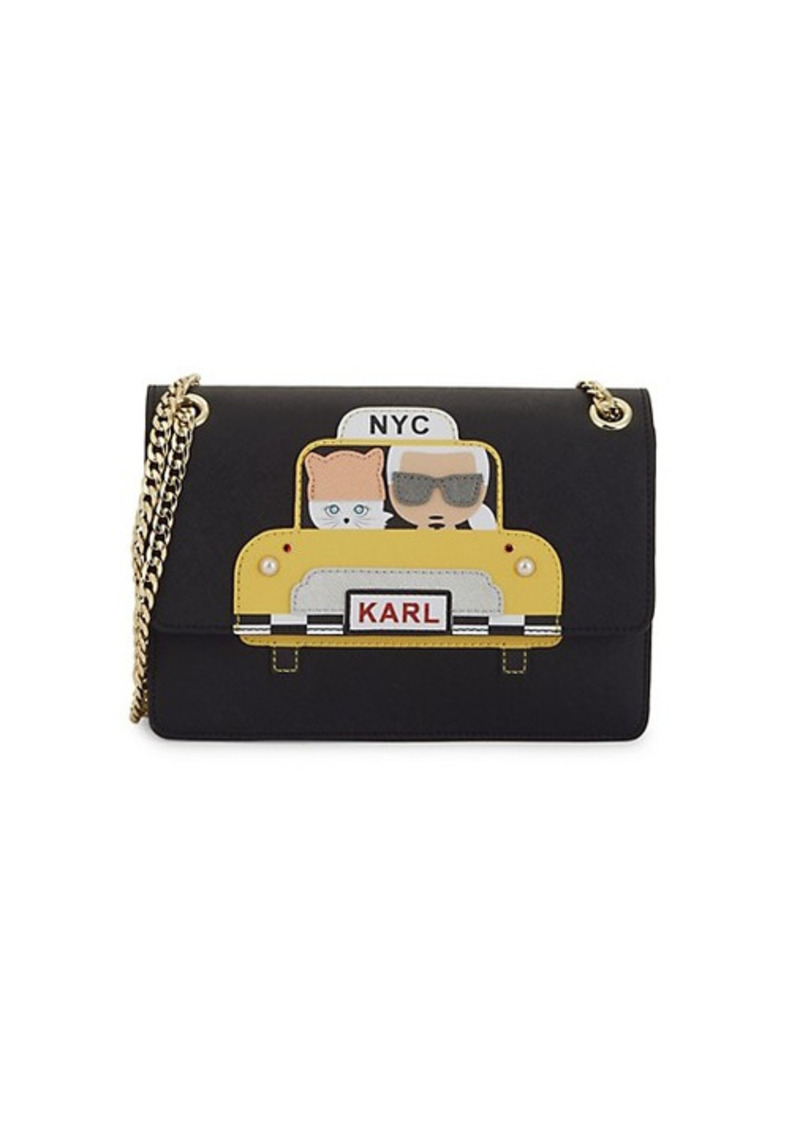 Karl Lagerfeld Maybelle Faux Pearl Embellished Taxi Crossbody Bag