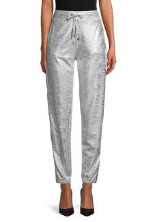 Karl Lagerfeld Metallic Drawstring Cotton-Blend Pants