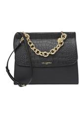 Karl Lagerfeld Mia Croc Embossed Cow Leather Satchel Bag