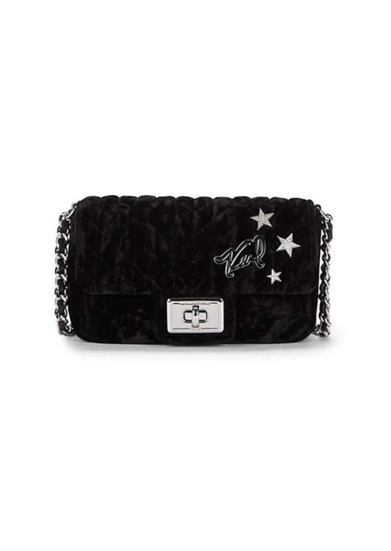 Karl Lagerfeld Mini Quilted Velvet Crossbody Bag