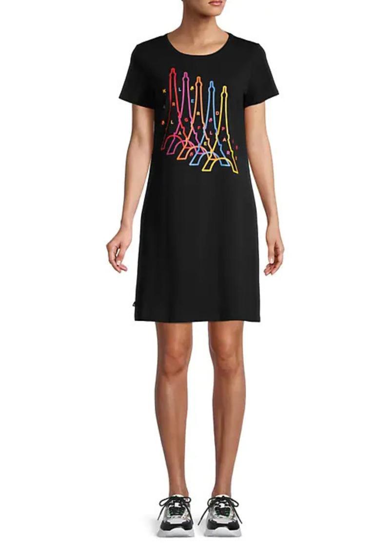 Karl Lagerfeld Multicolored Eiffel Tower T-Shirt Dress