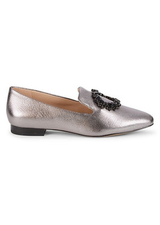 Karl Lagerfeld Noor Embellished Metallic-Leather Loafers