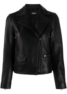 Karl Lagerfeld off-centre zipped biker jacket