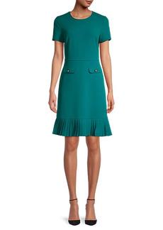 Karl Lagerfeld Pleated-Hem Scuba Crepe Dress