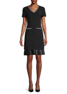 Karl Lagerfeld Pleated-Hem Sheath Dress