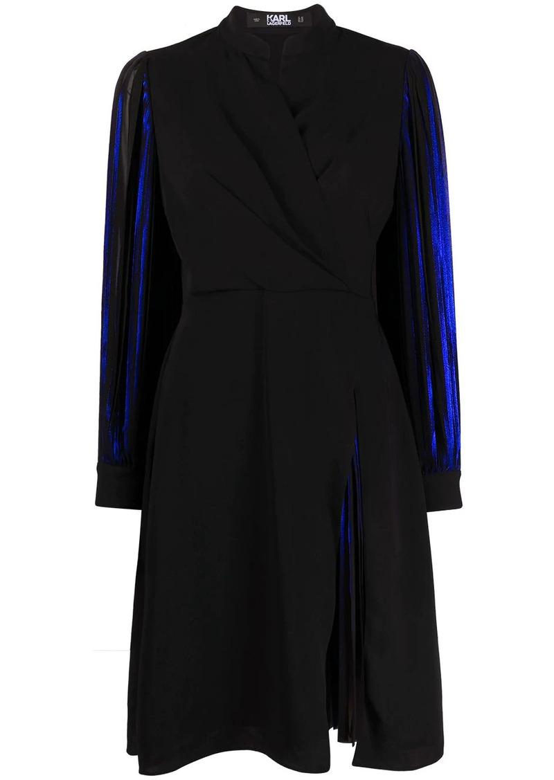 Karl Lagerfeld pleated sleeve metallic dress