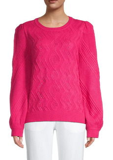 Karl Lagerfeld Pointelle Puff-Sleeve Sweater