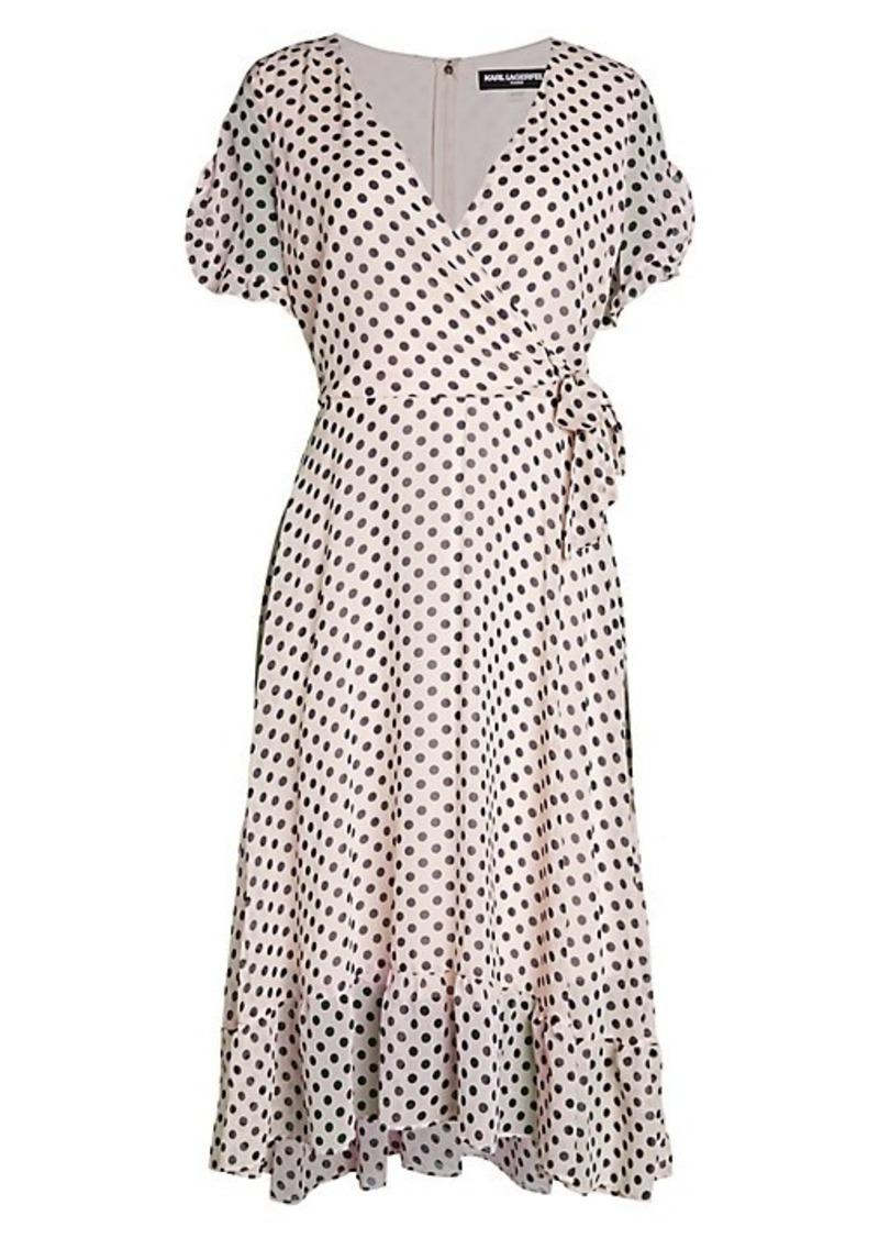 Karl Lagerfeld Polka Dot Chiffon Flare Dress