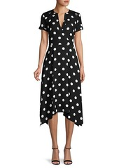 Karl Lagerfeld Polka Dot Faux-Wrap Dress