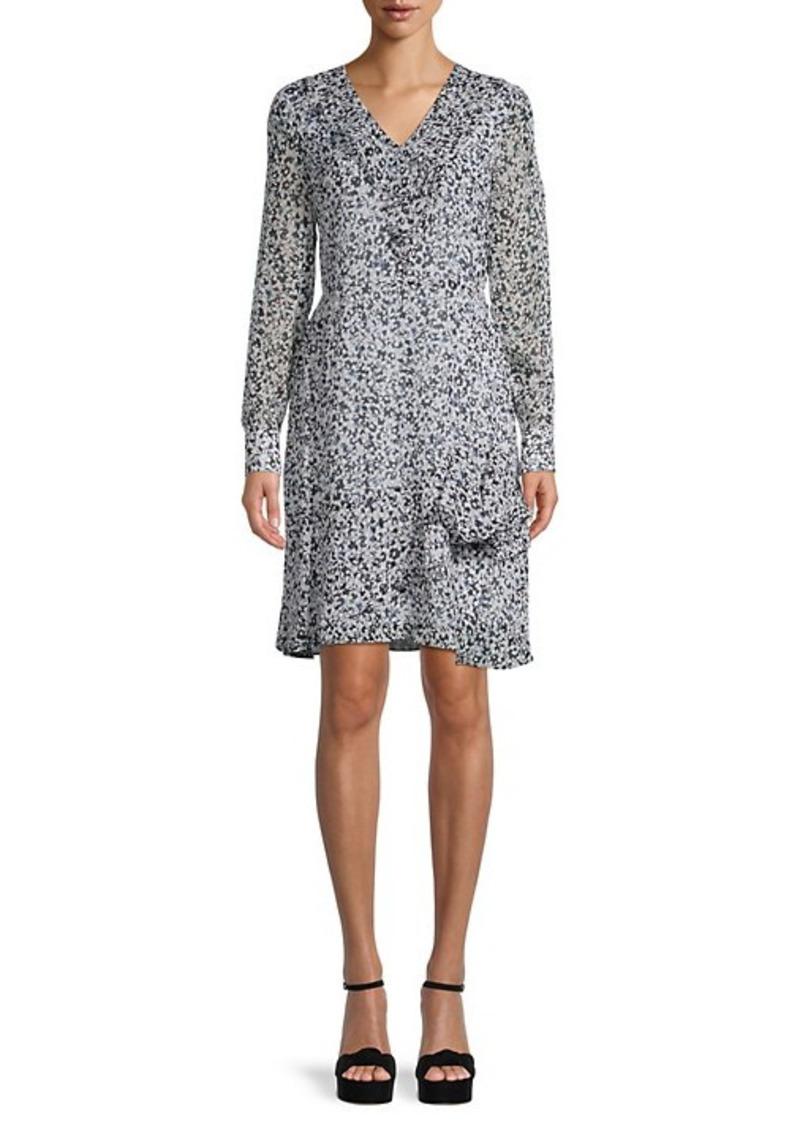 Karl Lagerfeld Printed Ruffle Dress