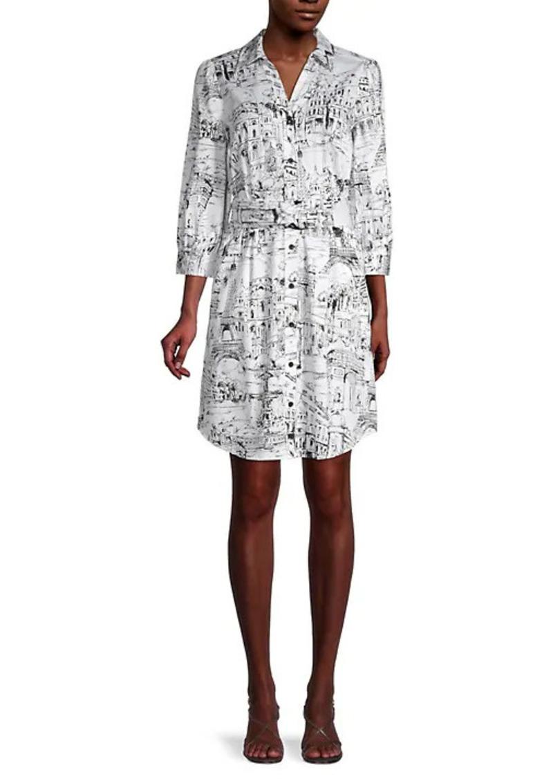 Karl Lagerfeld Printed Stretch-Cotton Mini Shirtdress