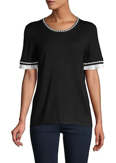 Karl Lagerfeld Ruffle & Embroidery-Trim Short-Sleeve Sweater