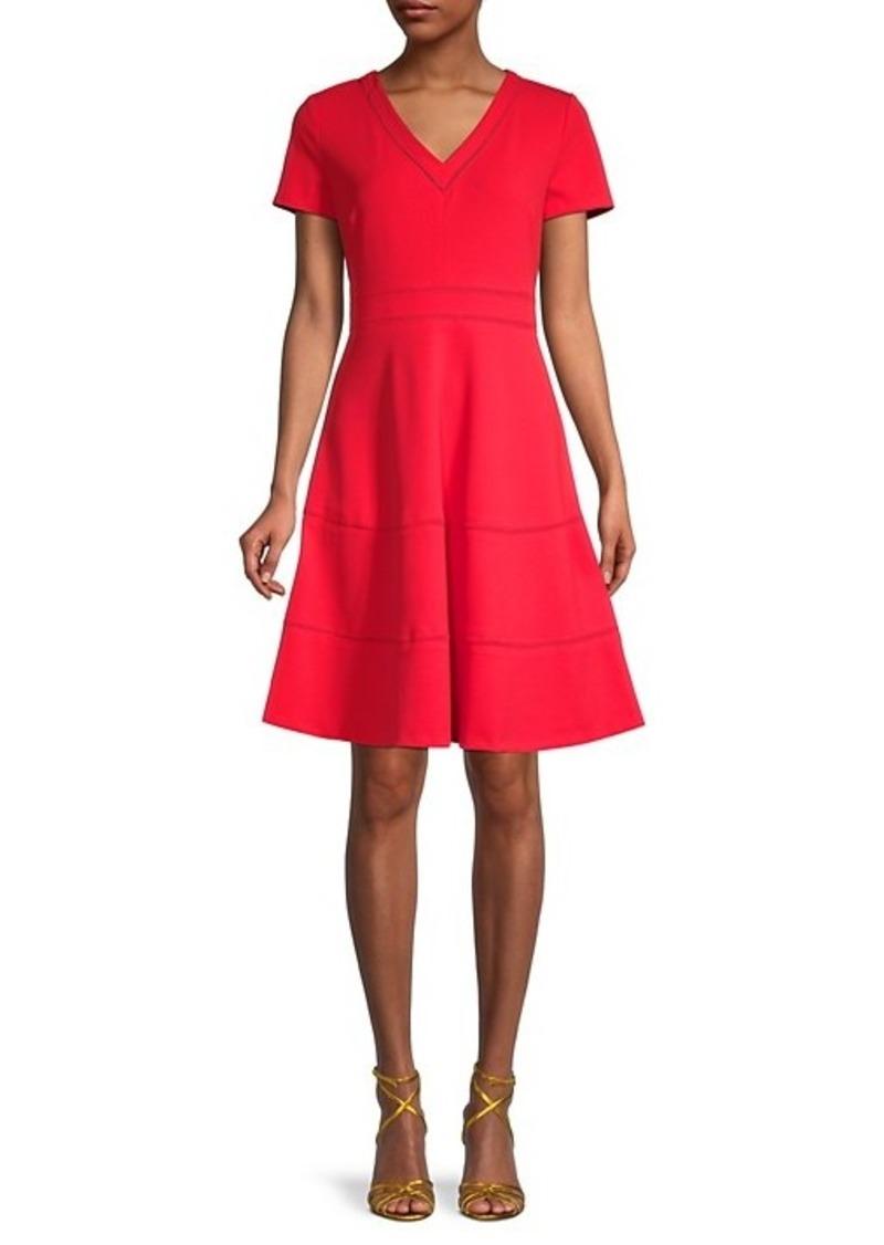 Karl Lagerfeld Scuba Crepe Lace Eyelet-Trim A-Line Dress