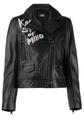 Karl Lagerfeld slogan biker jacket