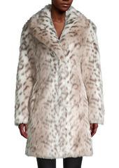 Karl Lagerfeld Snow Leopard-Print Faux Fur Coat