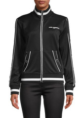 Karl Lagerfeld Stand Collar Full-Zip Jacket