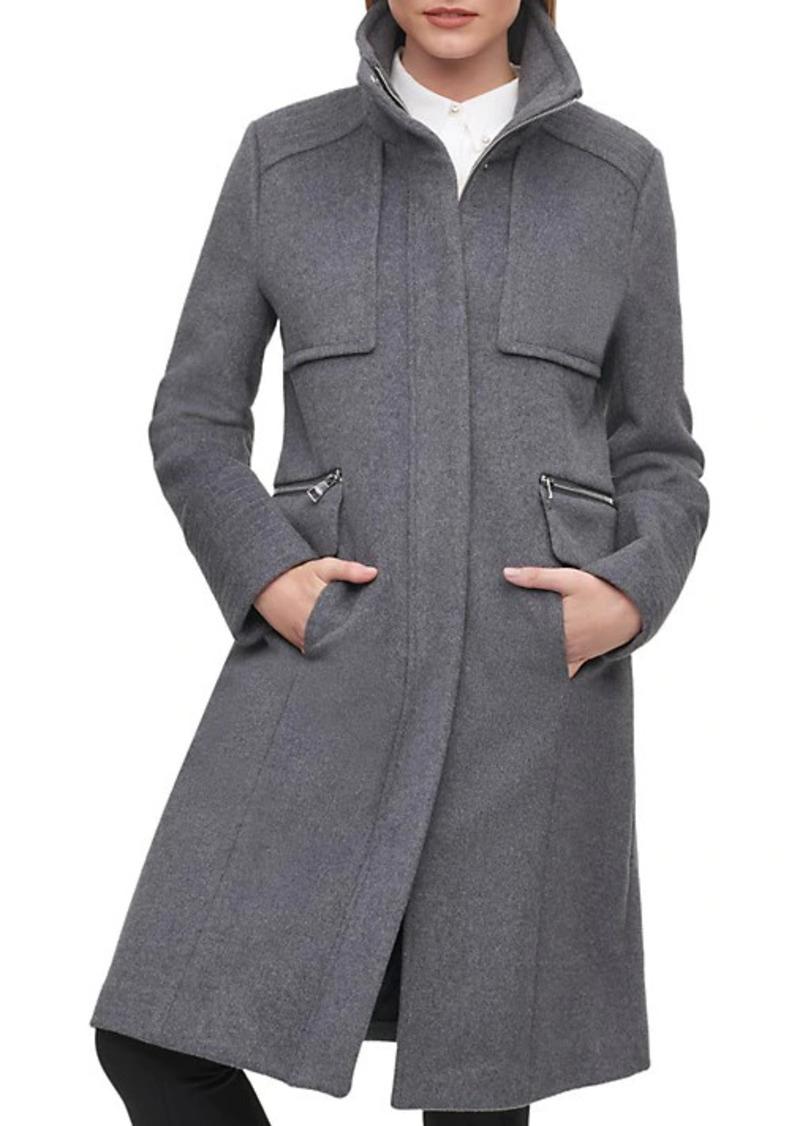Karl Lagerfeld Stand-Collar Wool-Blend Coat