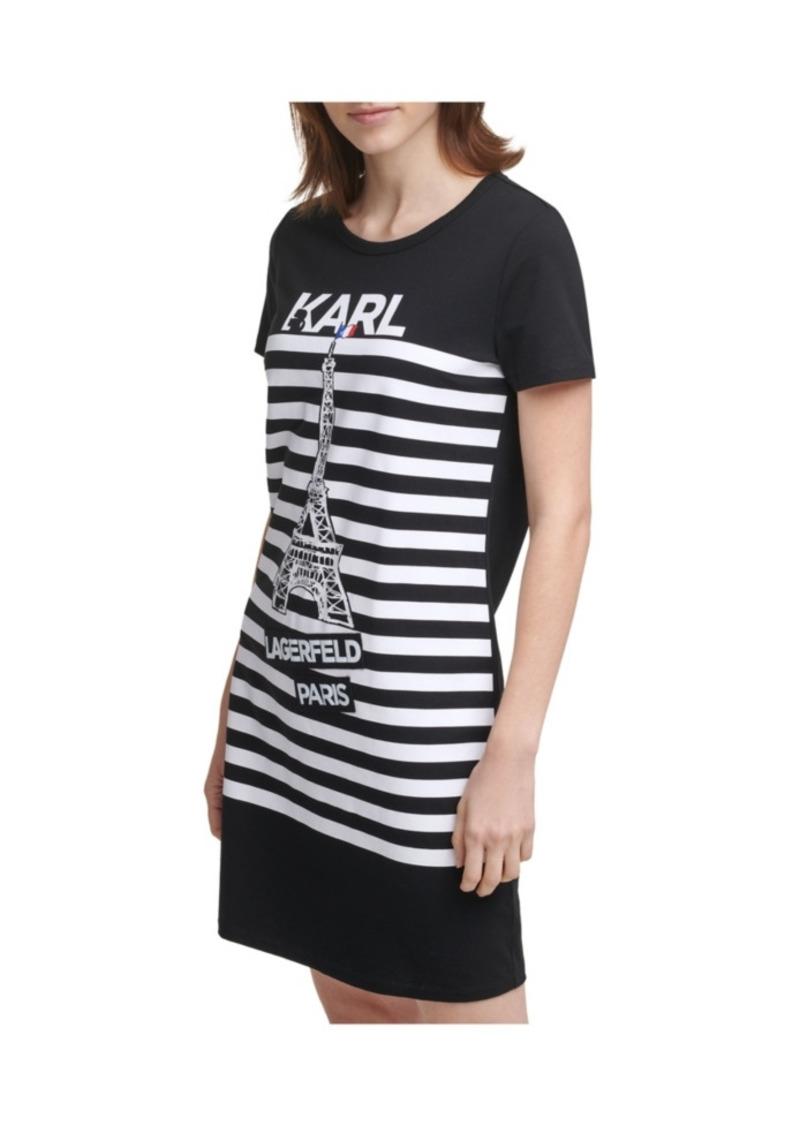 Karl Lagerfeld Paris Stripe Eiffel Tower T-shirt Dress