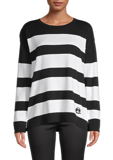 Karl Lagerfeld Striped Cotton-Blend Sweater