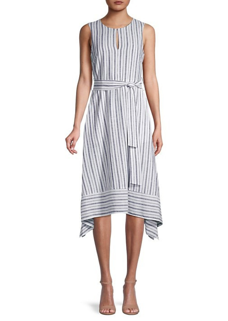 Karl Lagerfeld Striped Linen-Blend Flare Dress