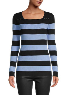 Karl Lagerfeld Striped Squareneck Sweater
