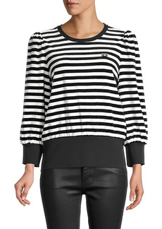 Karl Lagerfeld Striped Stretch-Cotton Top