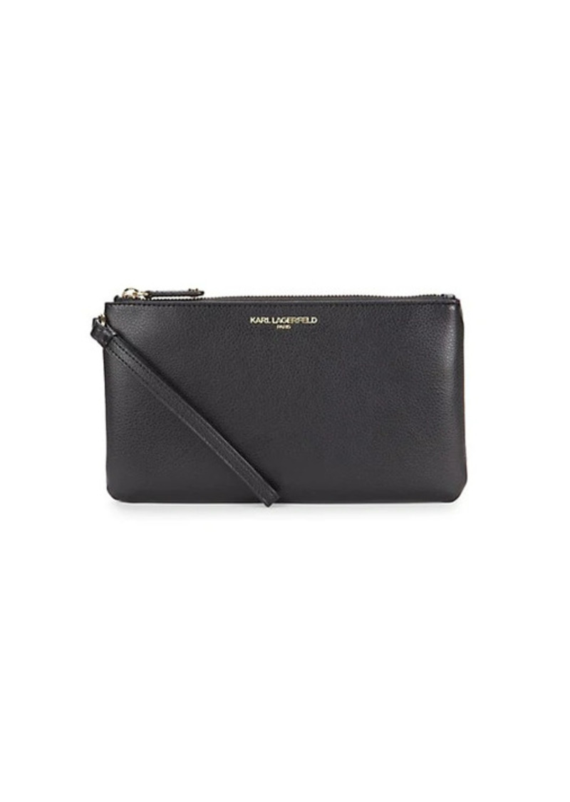 Karl Lagerfeld Textured Leather Wristlet