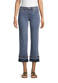 Karl Lagerfeld Wide-Leg Frayed Jeans