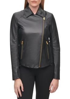 Women's Karl Lagerfeld Paris Knit Panel Leather Moto Jacket
