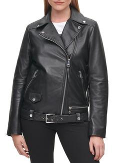 Women's Karl Lagerfeld Paris Logo Fringe Leather Moto Jacket