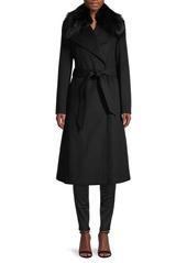 Karl Lagerfeld Wool-Blend & Faux Fur-Collar Coat