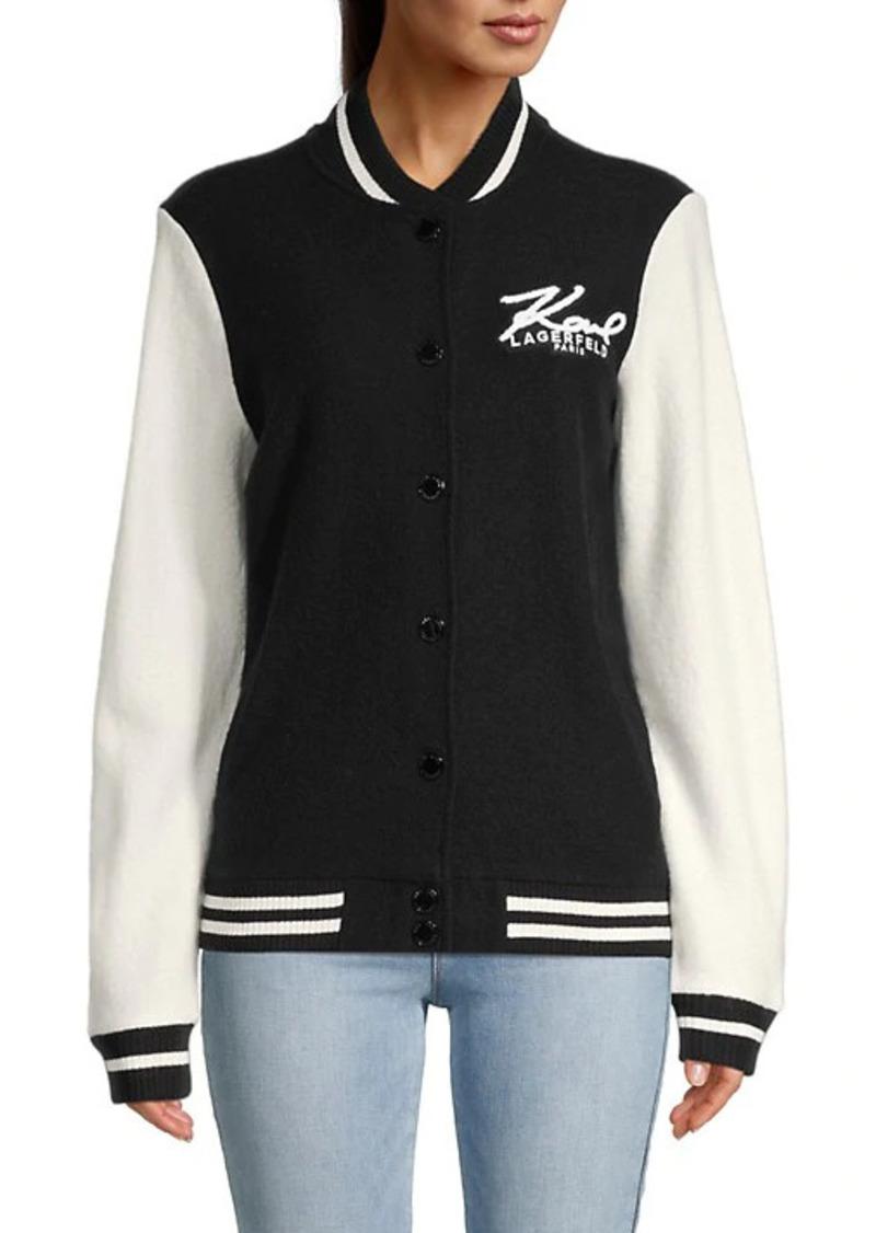 Karl Lagerfeld Wool-Blend Varsity Jacket