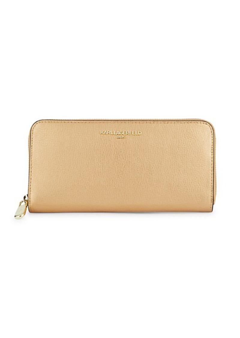 Karl Lagerfeld Zip-Around Continental Leather Wallet
