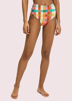 Kate Spade Garden Plaid High-Waist Bikini Bottom