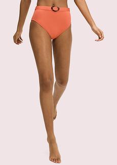 Kate Spade Heart-Buckle Belted High-Waist Bikini Bottom