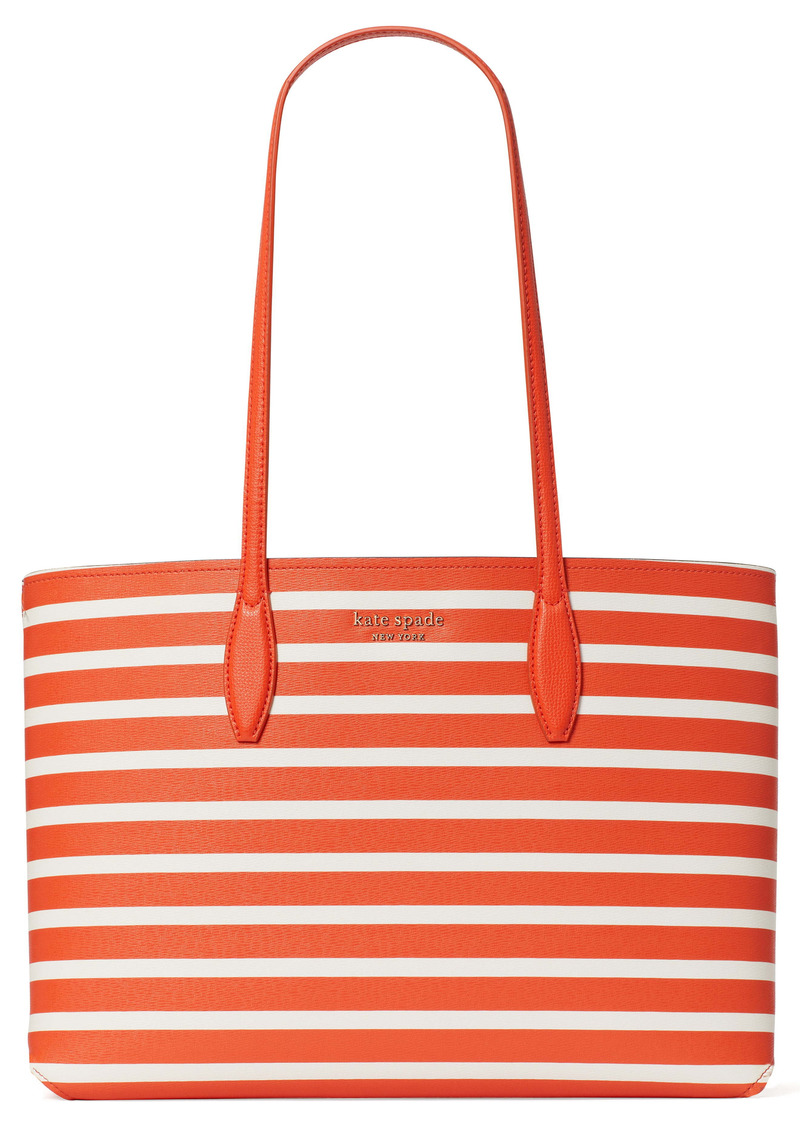 kate spade new york all day sailing large stripe faux leather tote & pouch