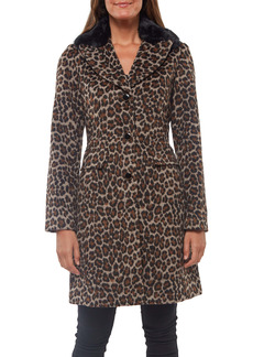 kate spade new york animal print coat with removable faux fur trim