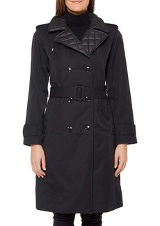 kate spade new york belted trench coat with removable hood