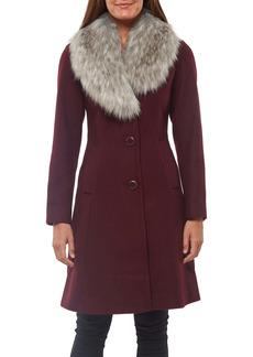 kate spade new york faux fur shawl collar fit & flare coat