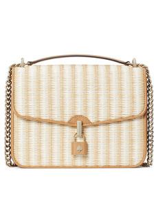 kate spade new york locket straw flap crossbody bag